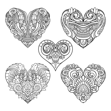 Vector Monochrome Set of Hearts. Valentines Day. Ethnic Decorative Elements. Abstract Objects Isolated On White Background