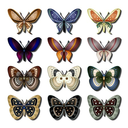 Vector Set of Butterfly. Objects Wildlife. Decorative Objects Isolated On Background