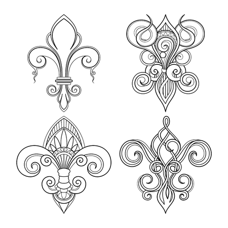 Vector Monochrome Set of Fleur-De-Lis. Beautiful Elements. Decorative Isolated Illustration For Design Illusztráció