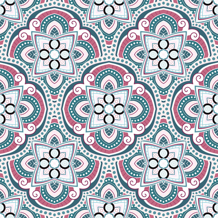 Vector Seamless Pattern In Color For Your Design. Printable Coloring Pages. Hand Drawn Decorative Scales Illustration