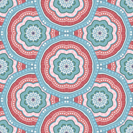 Vector Seamless Pattern In Color For Your Design. Printable Coloring Pages. Hand Drawn Decorative Scales  イラスト・ベクター素材