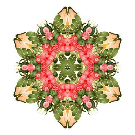Vector Beautiful Mandala. Circle Abstract Object Isolated On White Background. Ethnic Decorative Round Element  イラスト・ベクター素材