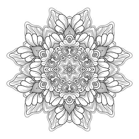 Vector Monochrome Mandala. Ethnic Decorative Element. Round Abstract Object Isolated On White Background Ilustração