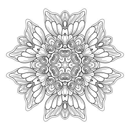 Vector Monochrome Mandala. Ethnic Decorative Element. Round Abstract Object Isolated On White Background  イラスト・ベクター素材