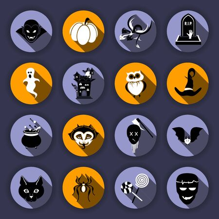 Vector Set of Flat Icons For Halloween