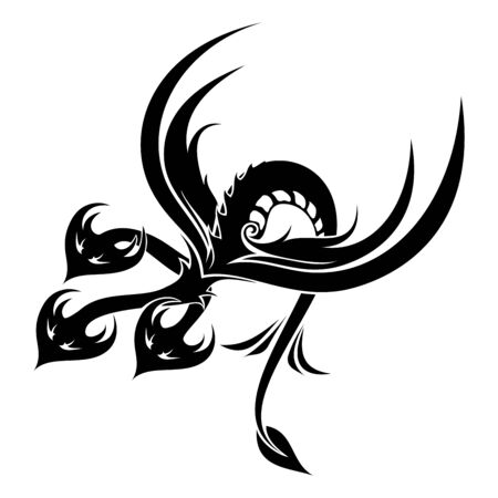 Vector Tribal Dragon. Zmey Gorynych. Three Heads. Tattoo Illustration