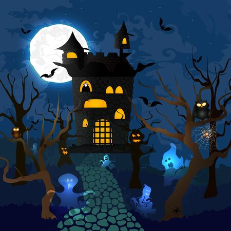 Vector Illustration of Halloween. Count Dracula's Castle. Flat. Halloween party invitation. Holiday poster Ilustrace