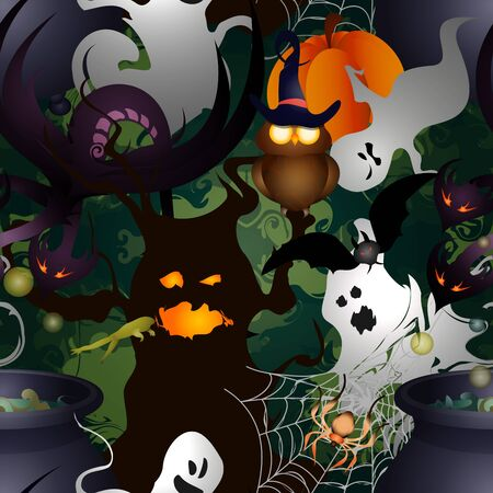 Vector Illustration of Halloween. Flat. Seamless background  イラスト・ベクター素材