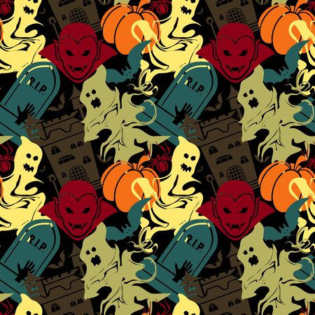 Vector Abstract Seamless Halloween Pattern For Girls And Boys. Illustration On A Black Background. Wallpaper for textile and fabric Ilustrace