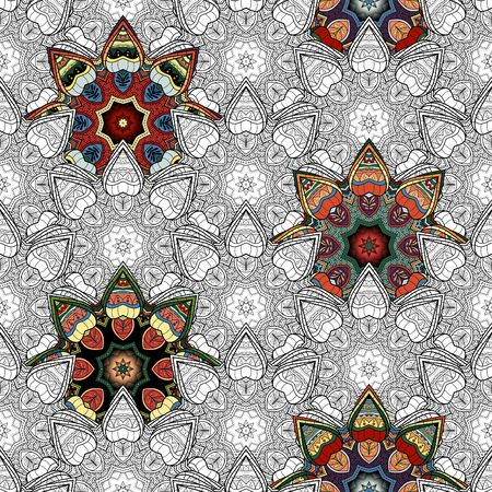 Vector Seamless Pattern of Partially Painted. For your design. Printable Coloring Pages. Hand Drawn Decorative Squama Illustration