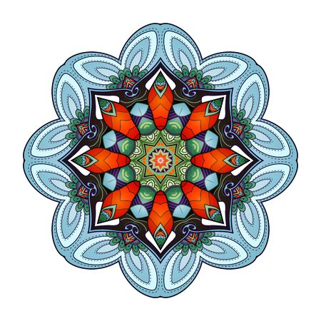 Vector Beautiful Mandala. Circle Abstract Object Isolated On White Background. Ethnic Decorative Round Element Illusztráció
