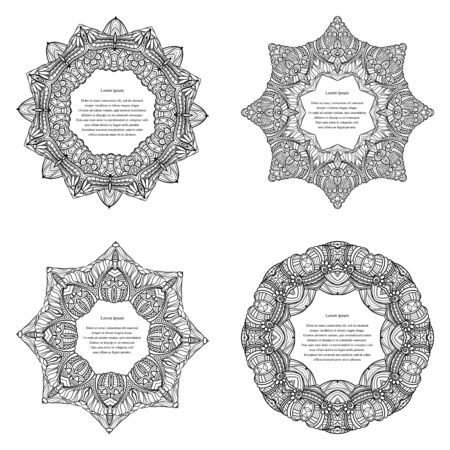 Vector Beautiful Decorative Round Frame. Design Element For Page Border. Template for Greeting Card Ilustrace