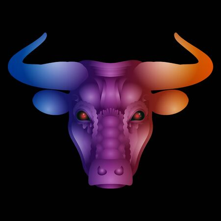 Vector Tribal Decorative Bull. Isolated Animal On White Background