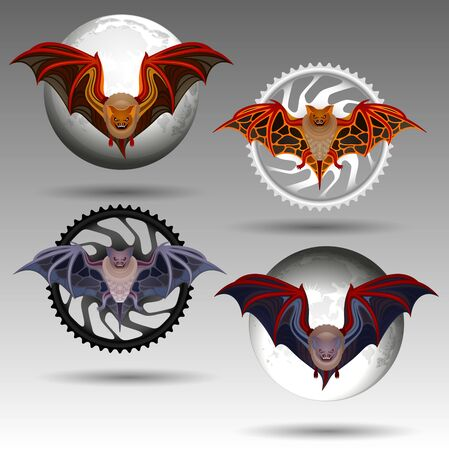 Vector Tribal Decorative Set of Bats. Isolated Animals On Background of Moon And Motorcycle Star Ilustrace