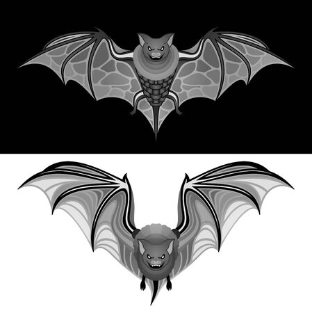 Vector Tribal Decorative Set of Bats. Isolated Animal On Background Ilustrace