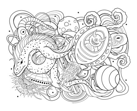 Vector Monochrome Background of Space. Abstract Ornament. Hand Drawn Contour Lines Ilustrace