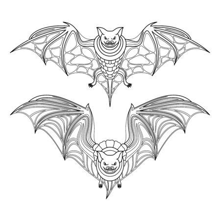 Vector Tribal Decorative Set of Bat. Isolated Animal On White Background