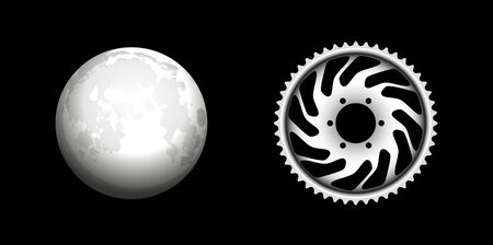 Vector Monochrome Moon And Motorcycle Star. 3D Hand drawn