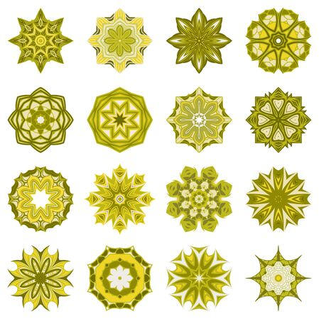 Vector Set of Mandalas. Round Abstract Objects Isolated On White Background. Ethnic Decorative Element