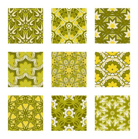 Vector Set of Seamless Pattern In Color For Your Design. Printable Coloring Pages. Hand Drawn Decorative Squama Illustration
