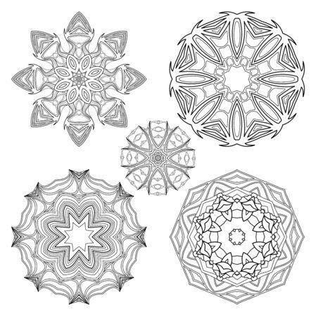 Vector Monochrome Set of Mandalas. Round Abstract Objects Isolated On White Background. Ethnic Decorative Element