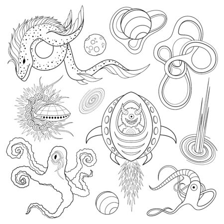 Vector Monochrome Set of Space Life. Abstract Ornament. Hand Drawn Contour Lines