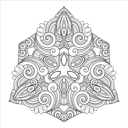 Vector Monochrome Mandala. Ethnic Decorative Element. Round Abstract Object Isolated On White Background 版權商用圖片 - 161311389