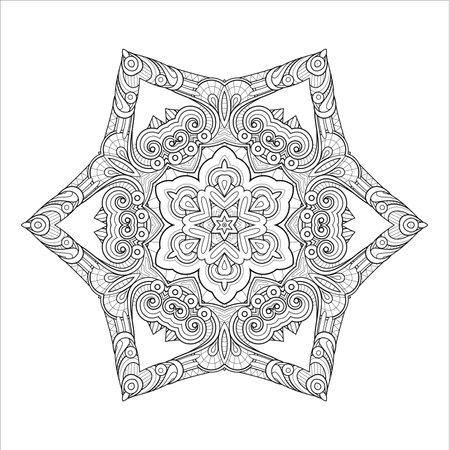 Vector Monochrome Mandala. Ethnic Decorative Element. Round Abstract Object Isolated On White Background 向量圖像