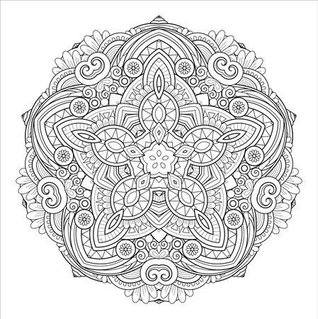 Vector Monochrome Mandala. Ethnic Decorative Element. Round Abstract Object Isolated On White Background 版權商用圖片 - 161311392