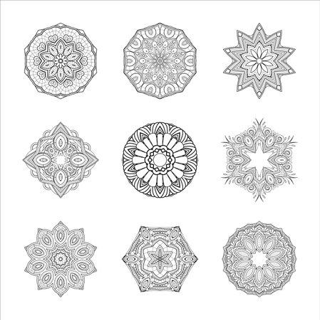 Vector Monochrome Set of Mandalas. Round Abstract Objects Isolated On White Background. Ethnic Decorative Element 版權商用圖片 - 161311394