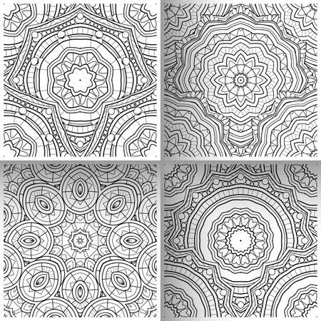 Vector Set of Seamless Pattern For Your Design. Printable Coloring Pages. Hand Drawn Decorative Squama