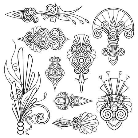 Vector Monochrome Set of Design Elements. Abstract Decorative Element. Abstract Object Isolated On White Background. Patterned Design 向量圖像