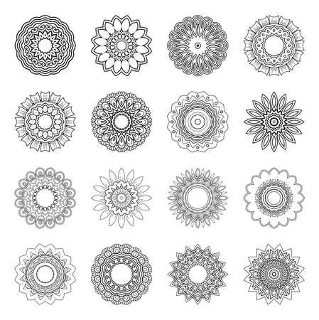 Vector Monochrome Set of Mandalas. Round Abstract Objects Isolated On White Background. Ethnic Decorative Element Vektoros illusztráció