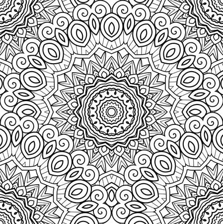 Vector Seamless Monochrome Pattern. Printable Coloring Pages. Hand Drawn Decorative Squama