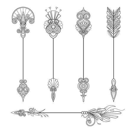 Vector Monochrome Set of Arrows. Abstract Decorative Element. Abstract Object Isolated On White Background. Patterned Design