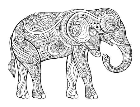Vector Decorative Monochrome Elephant. Animal Isolated On White Background. For Coloring Book