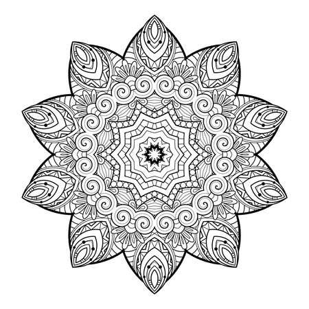 Vector Monochrome Mandala. Ethnic Decorative Element. Round Abstract Object Isolated On White Background 版權商用圖片 - 166078050
