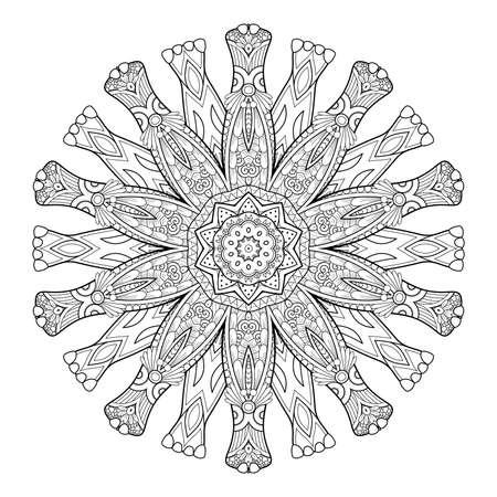 Vector Monochrome Mandala. Ethnic Decorative Element. Round Abstract Object Isolated On White Background 版權商用圖片 - 166078053