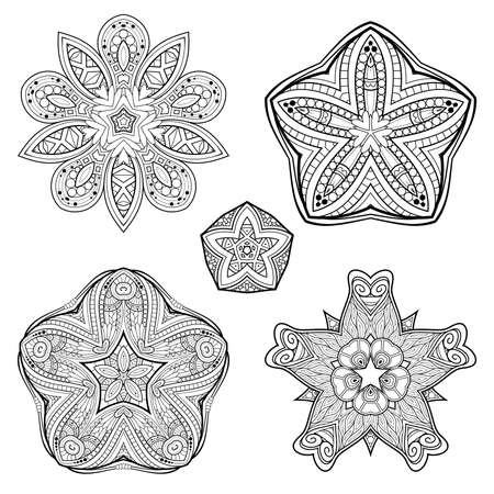 Vector Monochrome Set of Stars. Abstract Objects Isolated On White Background. Ethnic Decorative Element