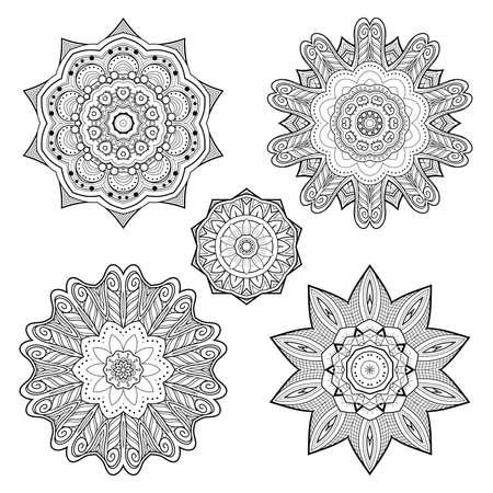 Vector Monochrome Set of Mandalas. Round Abstract Objects Isolated On White Background. Ethnic Decorative Element 版權商用圖片 - 166078057