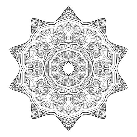 Vector Monochrome Mandala. Ethnic Decorative Element. Round Abstract Object Isolated On White Background 版權商用圖片 - 166078058