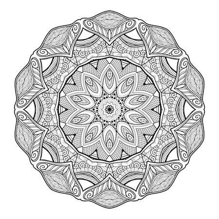 Vector Monochrome Mandala. Ethnic Decorative Element. Round Abstract Object Isolated On White Background 版權商用圖片 - 166078065