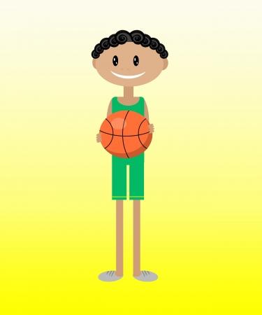 Cartoon illustration of a boy with a basketball illustration