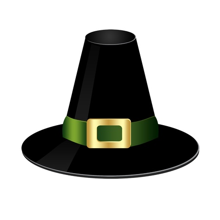 buckle: illustration of a black hat with a shiny buckle on a white background