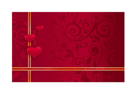 illustration - red wedding card with ribbons and hearts illustration