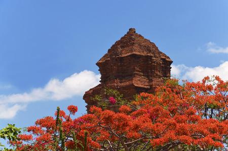 ne: Cham towers Poshanu in a tropical garden. Attractions & scenery of Vietnam, Mui Ne, Phan Thiet