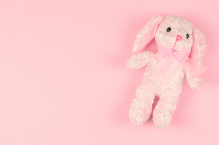 girlish: girlish soft toy on a pink gentle background Stock Photo