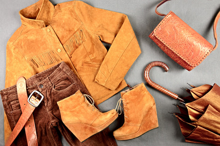 Women's brown clothing and accessories  set - suede jacket, corduroy jeans, boots, umbrella, bag and belt