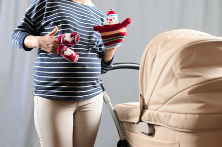 anticipation: In anticipation of motherhood. Pregnant belly