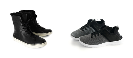 Two pairs of womens black sneakers isolated on white background. Fashion sport style shoes.  Active footwear. Collage Standard-Bild - 97446939